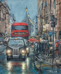 Happy When it Rains by Ziv Cooper - Original Painting on Box Canvas sized 16x20 inches. Available from Whitewall Galleries